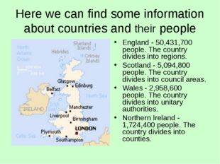Here we can find some information about countries and their people England -