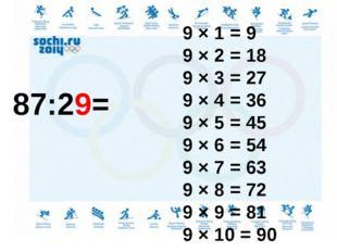 87:29= 9 × 1 = 9 9 × 2 = 18 9 × 3 = 27 9 × 4 = 36 9 × 5 = 45 9 × 6 = 54 9 ×