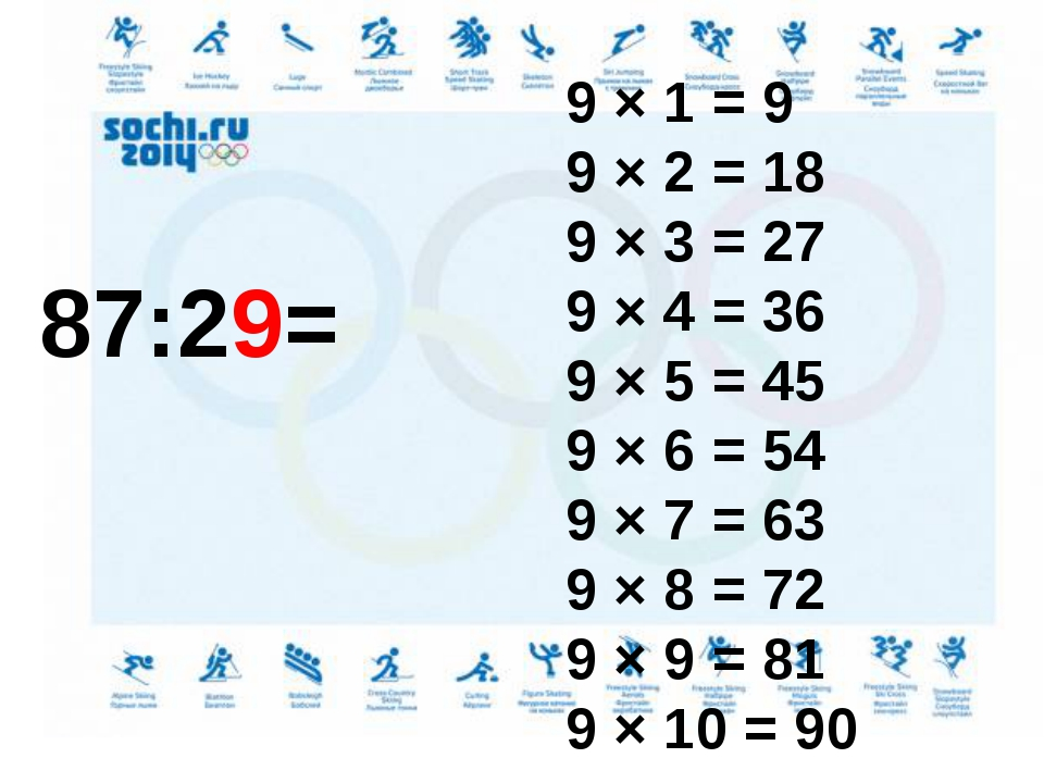 87:29= 9 × 1 = 9 9 × 2 = 18 9 × 3 = 27 9 × 4 = 36 9 × 5 = 45 9 × 6 = 54 9 ×...