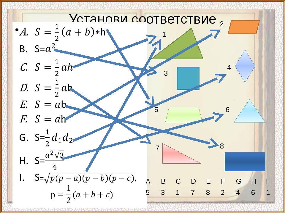 Установи соответствие 3 1 2 4 5 6 7 8 A B C D E F G H I 5 3 1 7 8 2 4 6 1