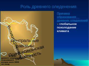 Роль древнего оледенения К о р д и л ь е р ы 1 2 Великие равнины Центральные