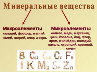 Макроэлементы кальций, фосфор, магний, калий, натрий, хлор и сера. Микроэлеме