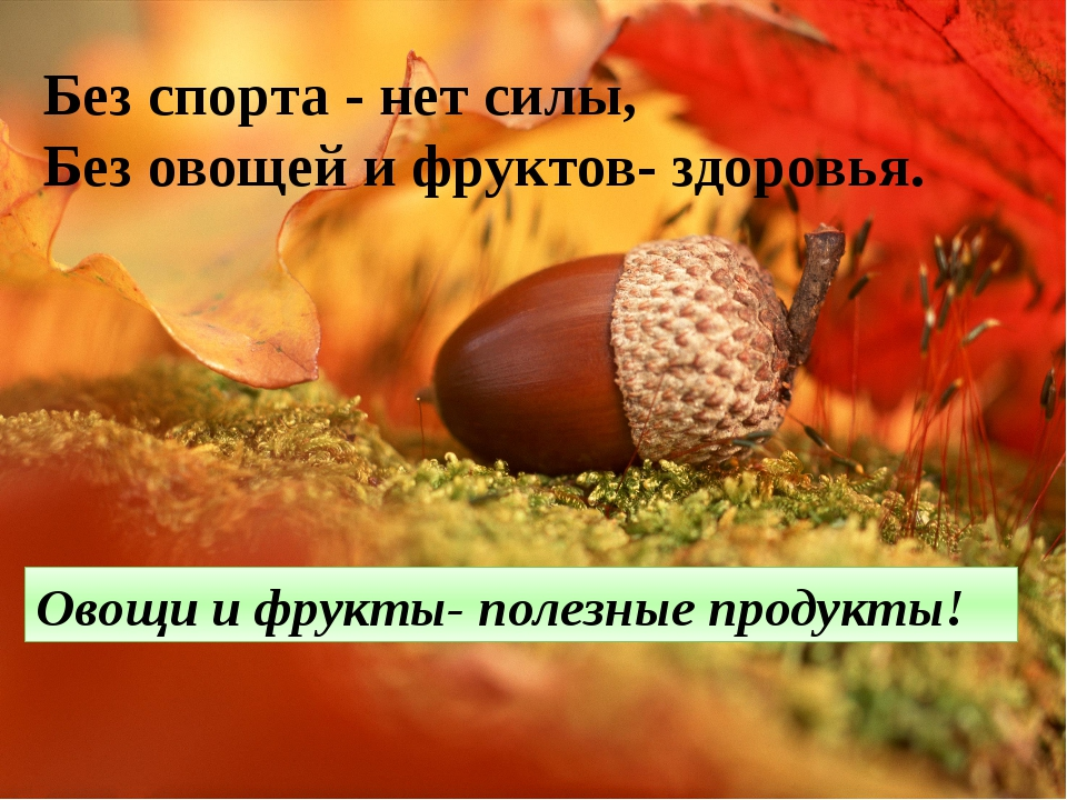 Без спорта - нет силы, Без овощей и фруктов- здоровья. Овощи и фрукты- полезн...