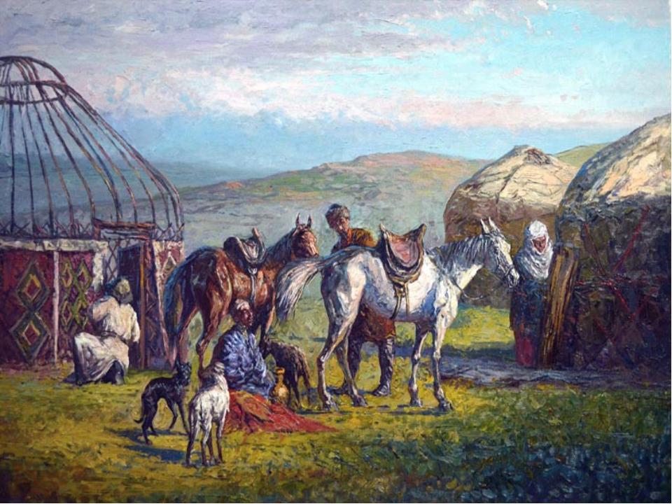 Открытках марта, картинки казахский аул