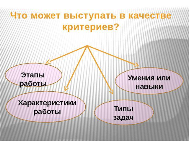 Что может выступать в качестве критериев? Этапы работы Характеристики работы...