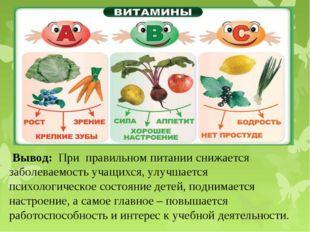 Вывод: При правильном питании снижается заболеваемость учащихся, улучшается