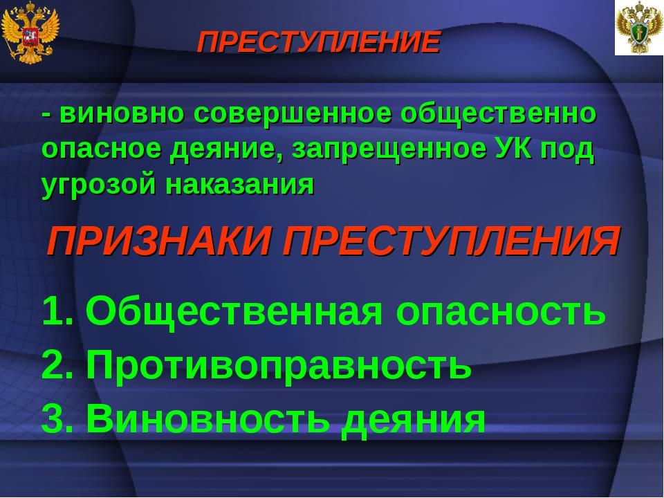 ПРИЗНАКИ ПРЕСТУПЛЕНИЯ Общественная опасность Противоправность Виновность деян...