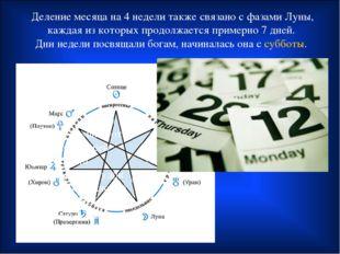 Деление месяца на 4 недели также связано с фазами Луны, каждая из которых про