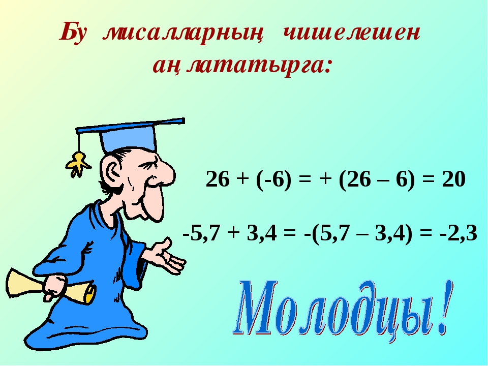 Бу мисалларның чишелешен аңлататырга: 26 + (-6) = + (26 – 6) = 20 -5,7 + 3,4...