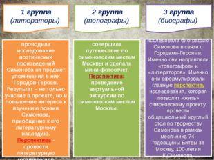 1 группа (литераторы) 2 группа (топографы) 3 группа (биографы) проводила иссл