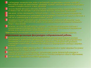 ·соблюдение гигиенических норм и требований к организации и объёму учебной и