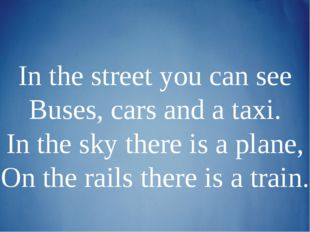 In the street you can see Buses, cars and a taxi. In the sky there is a plane