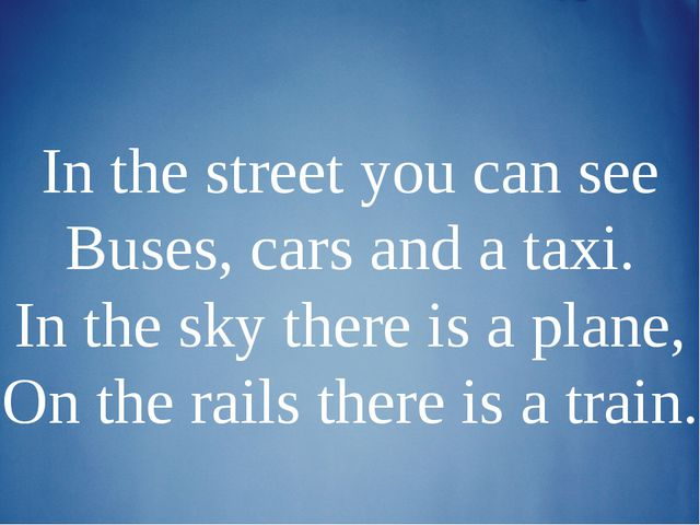 In the street you can see Buses, cars and a taxi. In the sky there is a plane...