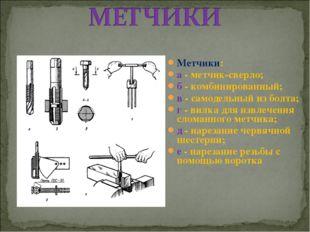 Метчики: а - метчик-сверло; б - комбинированный; в - самодельный из болта; г