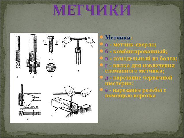 Метчики: а - метчик-сверло; б - комбинированный; в - самодельный из болта; г...