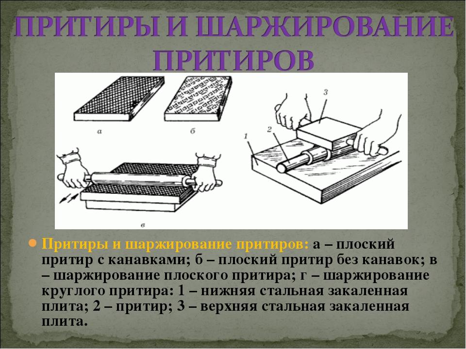 Притиры и шаржирование притиров: а – плоский притир с канавками; б – плоский...