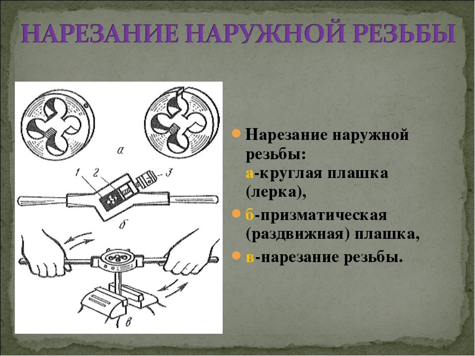 Нарезание наружной резьбы: а-круглая плашка (лерка), б-призматическая (раздви...