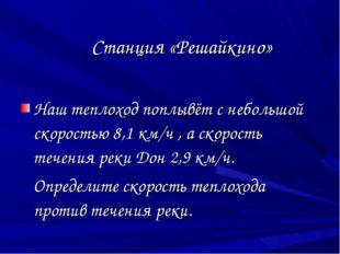 Станция «Решайкино» Наш теплоход поплывёт с небольшой скоростью 8,1 км/ч , а