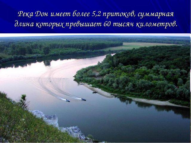 Река Дон имеет более 5,2 притоков, суммарная длина которых превышает 60 тысяч...