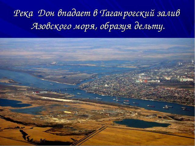 Река Дон впадает в Таганрогский залив Азовского моря, образуя дельту.