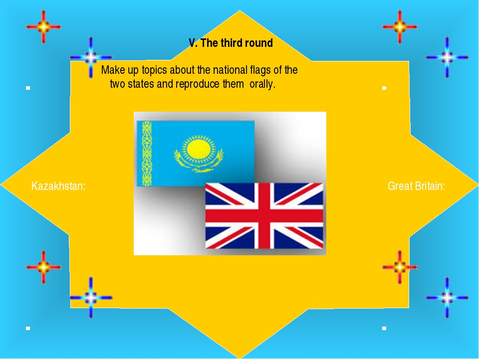 . V. The third round  Make up topics about the national flags of the two stat...