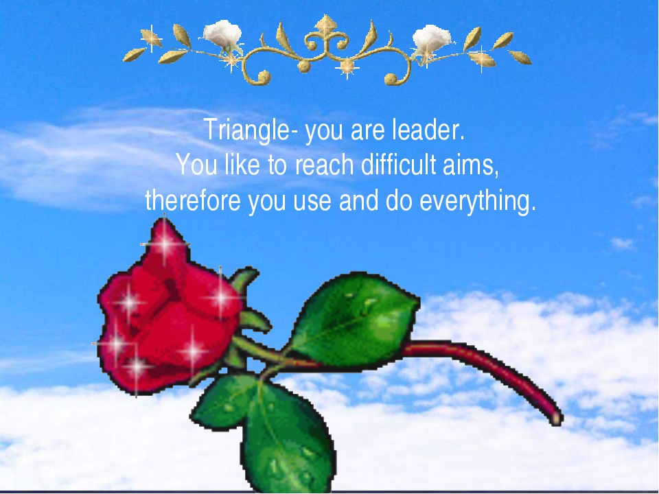 Triangle- you are leader. You like to reach difficult aims, therefore you use...