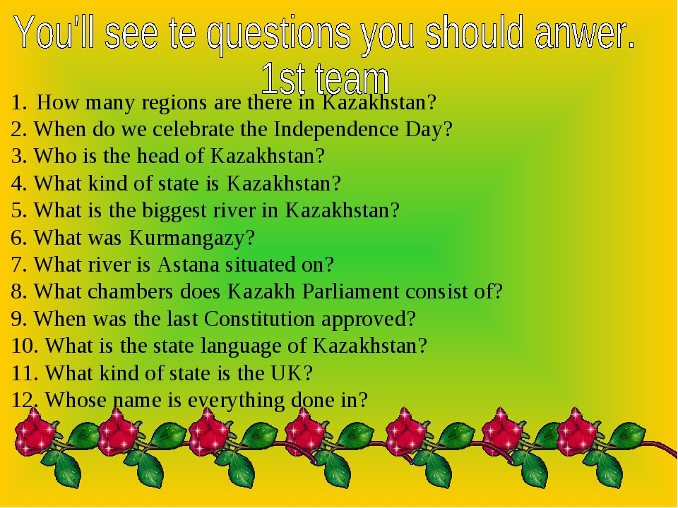 How many regions are there in Kazakhstan? 2. When do we celebrate the Indepen...