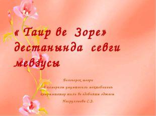 « Таир ве Зоре» дестанында севги мевзусы Белогорск шеэри 4 номералы умумтасил