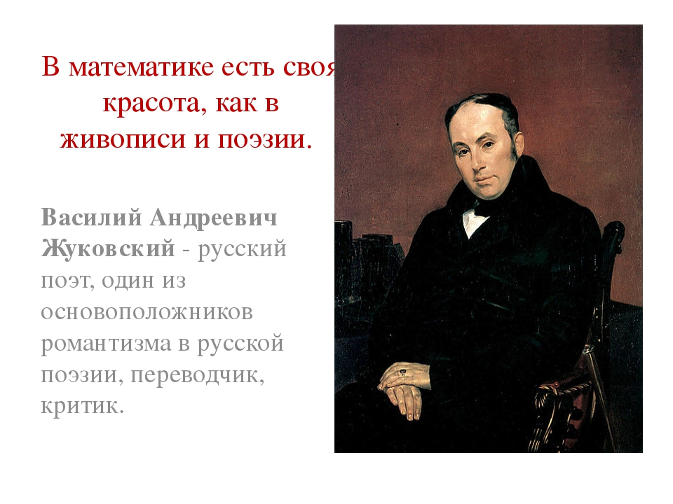 В математике есть своя красота, как в живописи и поэзии. Василий Андреевич Жу...
