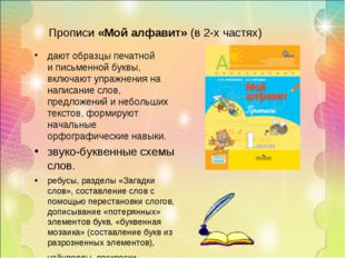 Прописи «Мой алфавит» (в 2-х частях) дают образцы печатной иписьменной буквы