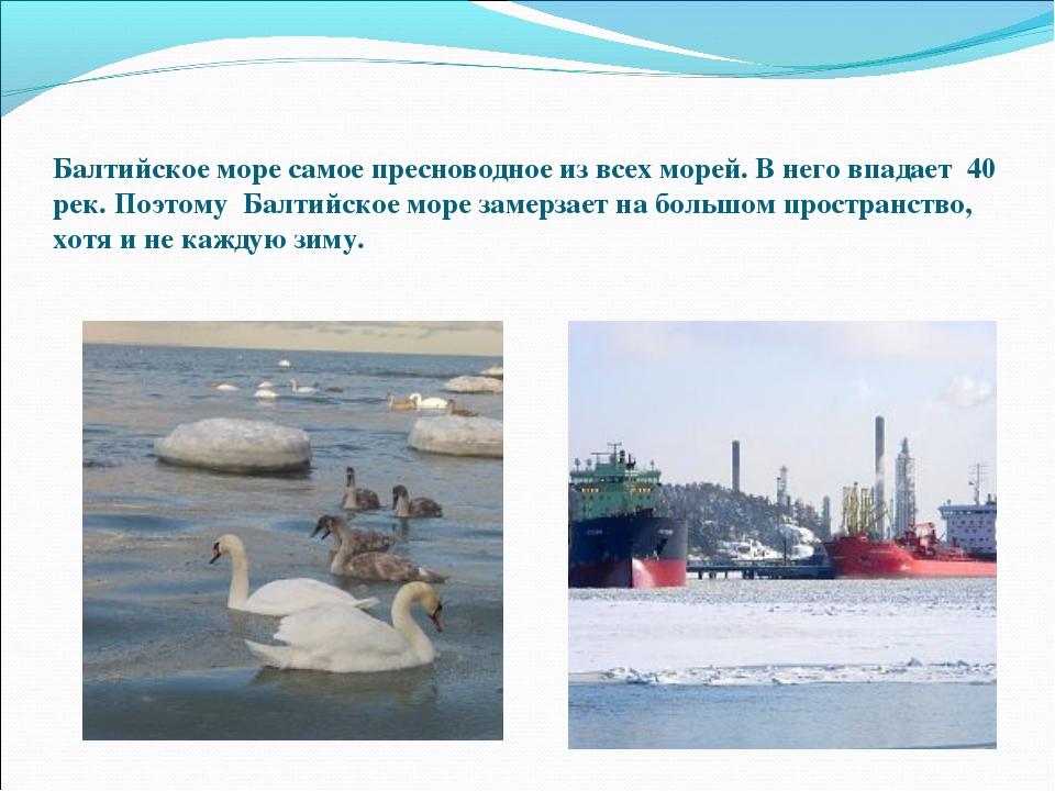 Балтийское море самое пресноводное из всех морей. В него впадает 40 рек.Поэ...