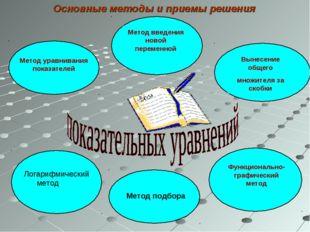 Метод подбора Основные методы и приемы решения Логарифмический метод
