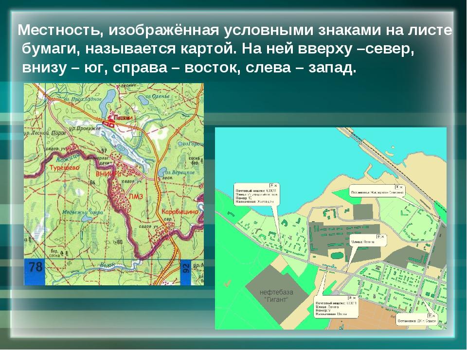 Местность, изображённая условными знаками на листе бумаги, называется картой....