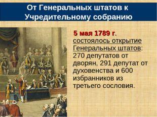 5 мая 1789 г. состоялось открытие Генеральных штатов: 270 депутатов от дворян