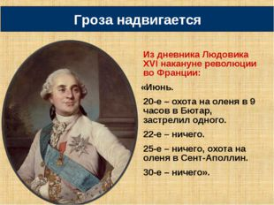 Из дневника Людовика XVI накануне революции во Франции: «Июнь. 20-е – охота н