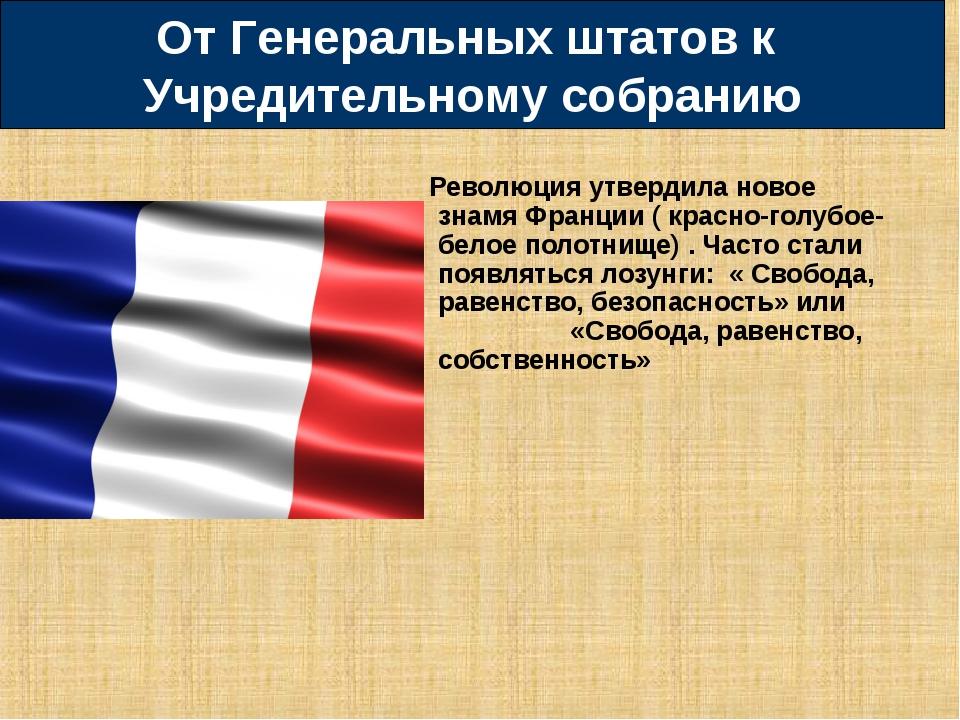 Революция утвердила новое знамя Франции ( красно-голубое-белое полотнище) . Ч...
