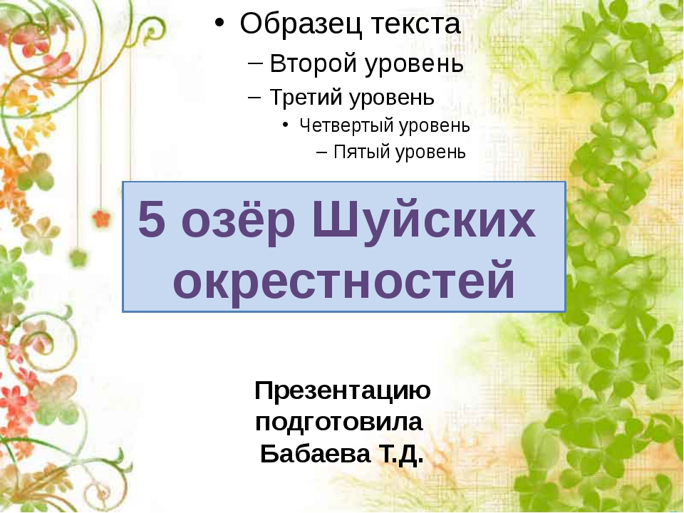 5 озёр Шуйских окрестностей Презентацию подготовила Бабаева Т.Д.