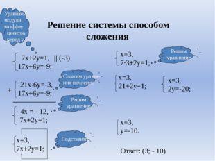 Решение системы способом сложения ||·(-3) + ____________ Ответ: (3; - 10) 7х