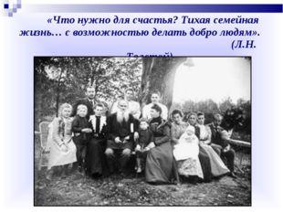 «Что нужно для счастья? Тихая семейная жизнь… с возможностью делать добро лю