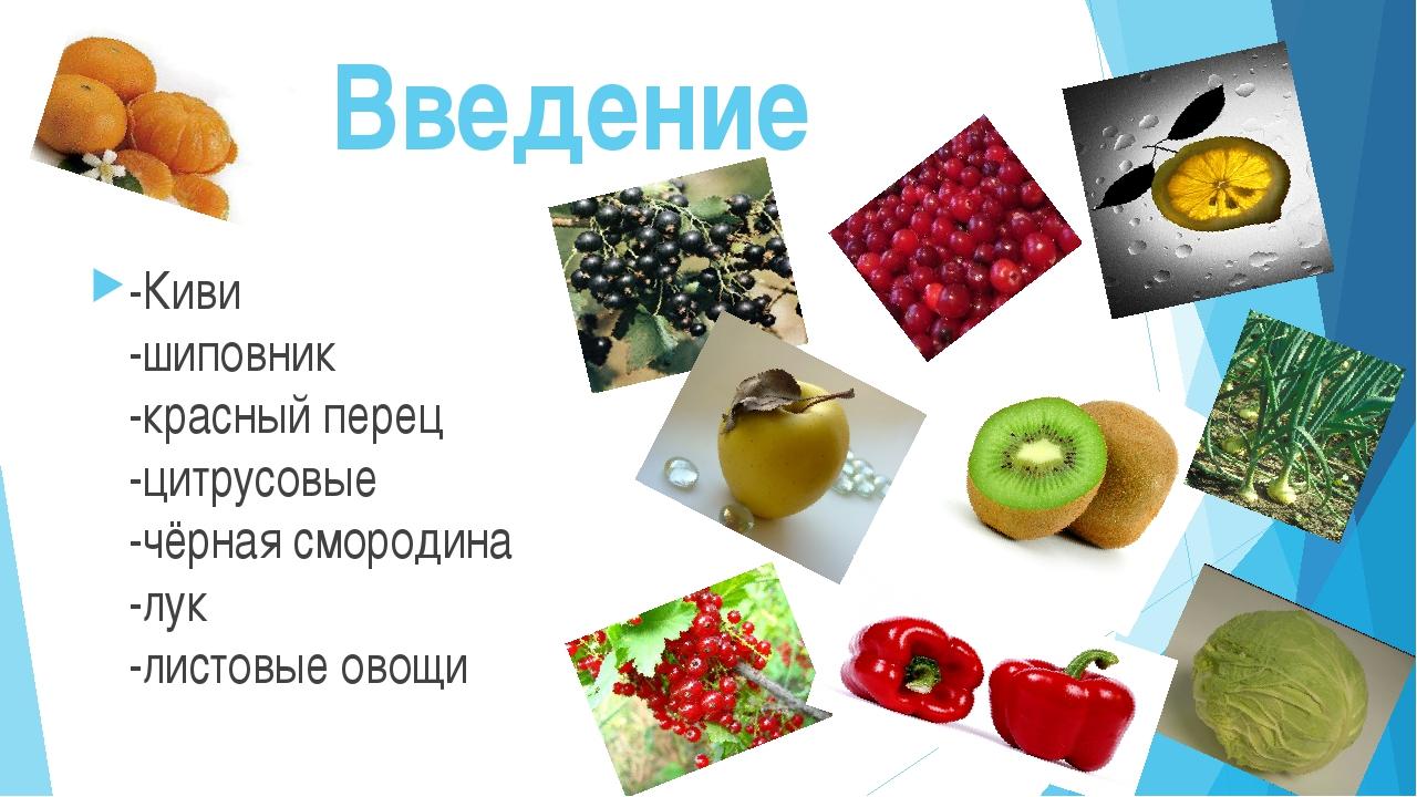 Введение -Киви -шиповник -красный перец -цитрусовые -чёрная смородина -лук -...