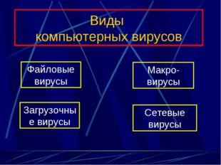 Виды компьютерных вирусов Файловые вирусы Загрузочные вирусы Макро-вирусы Сет