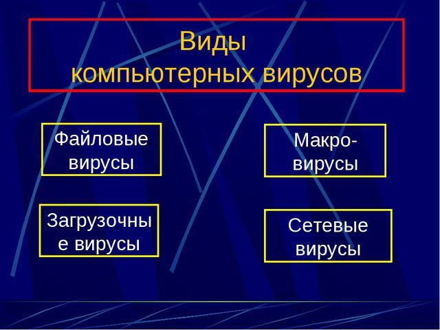 Виды компьютерных вирусов Файловые вирусы Загрузочные вирусы Макро-вирусы Сет...