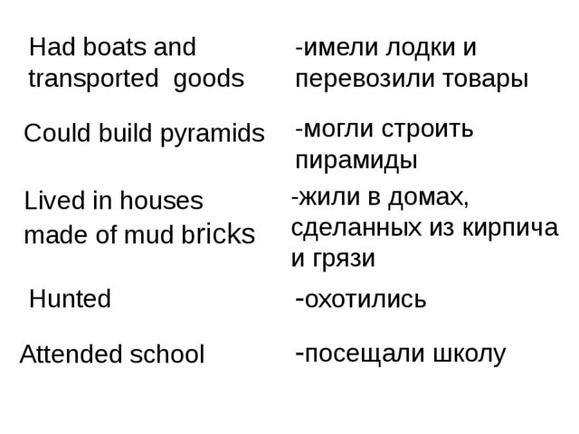 Had boats and transported goods -имели лодки и перевозили товары Could build...