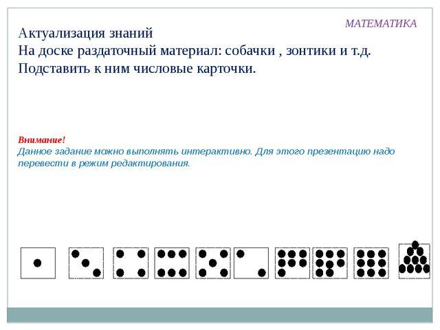 Актуализация знаний На доске раздаточный материал: собачки , зонтики и т.д. П...