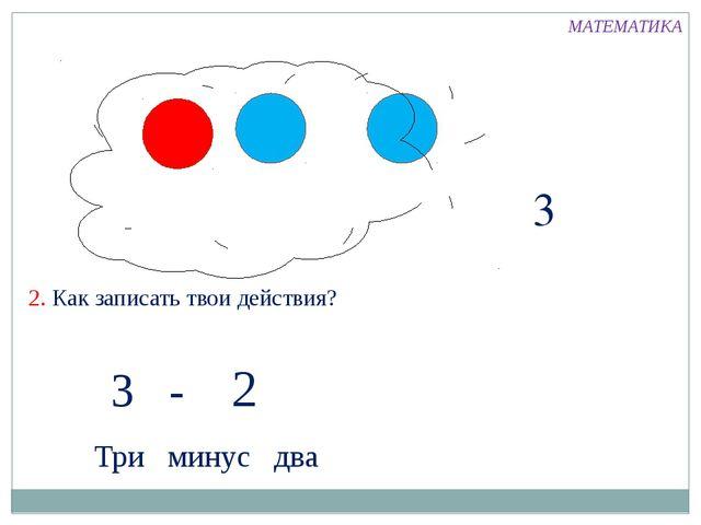 3 2. Как записать твои действия? 3 - 2 Три минус два МАТЕМАТИКА
