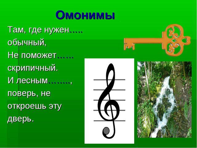 Омонимы Там, где нужен….. обычный, Не поможет…… скрипичный. И лесным…….., по...