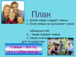 1. Зачем люди создают семьи. 2. Если семья не выполняет своих обязанно