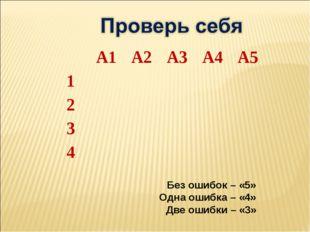 Без ошибок – «5» Одна ошибка – «4» Две ошибки – «3» А1А2А3А4А5 1 2