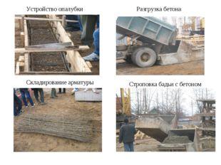 Устройство опалубки Складирование арматуры Разгрузка бетона Строповка бадьи с