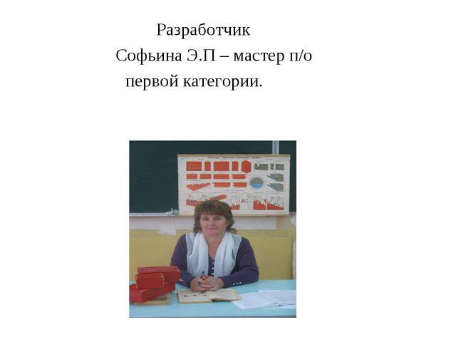 Разработчик  Софьина Э.П – мастер п/о первой категории.
